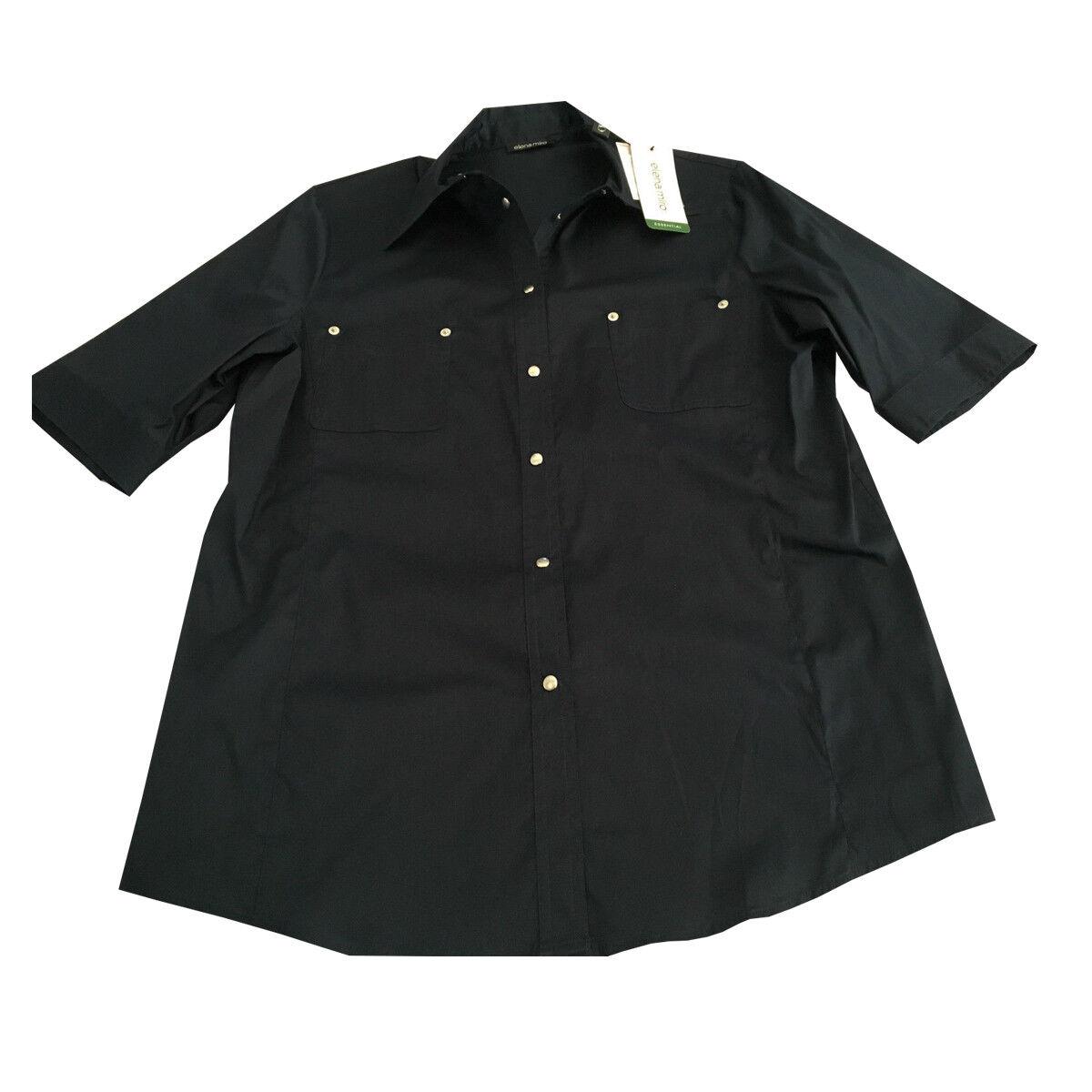 ELENA MIRO' camicia donna mezza mezza mezza manica blu con bottoni automatici 3d2621