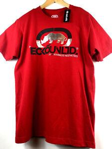 Ecko-Unltd-Mens-L-Red-Graphic-T-Shirt-Rhino-Logo-Print-Tee-Silver-Size-Large