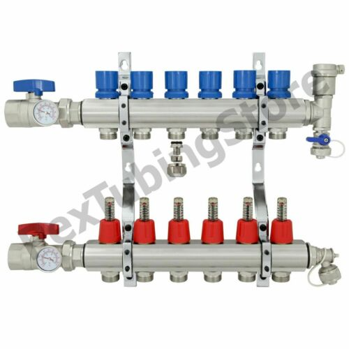 "6-Branch PEX Radiant Floor Heating Manifold Set for 3//8"" 1//2"" 5//8"" PEX Brass"