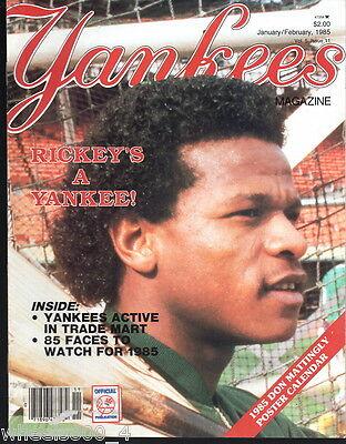 Yankees Magazine January/February 1985 Rickey Henderson Don Mattingly George Exc
