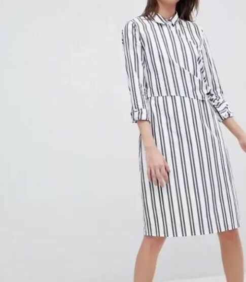 Selected Femme stripe mini wrap shirt dress Größe 38 Uk   Box E 82