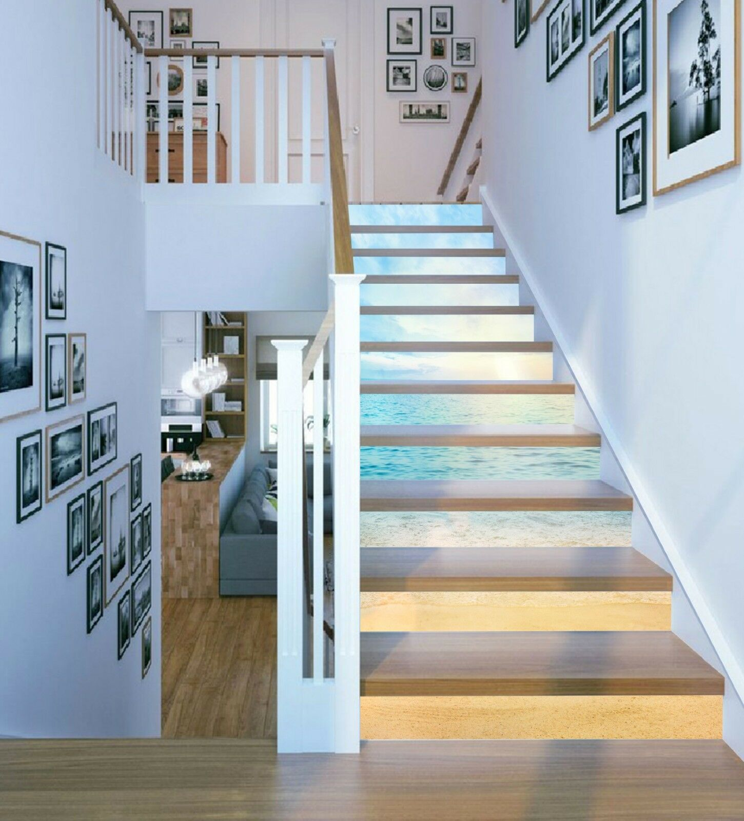 3D Helles Meer 1301 Stair Risers Dekoration Fototapete Vinyl Aufkleber Tapete DE