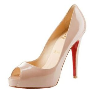 check out 32286 f82b8 Details about Christian Louboutin Very Prive 120 Nude Patent Peep Toe Shoes  Heels Uk 2 Eu 35