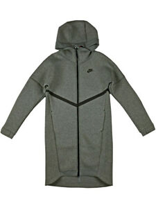 c9459290c348 Nike Womens Tech Fleece Long Full-Zip Hoodie Jacket Heather Grey ...