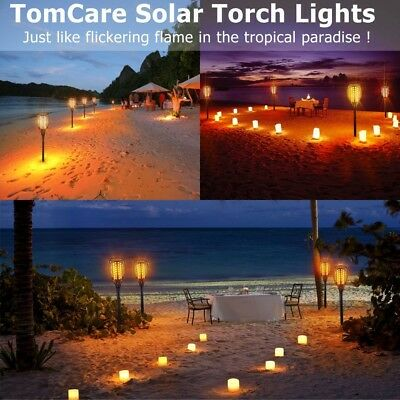 Tomcare Solar Lights 2Nd Version Flickering Flame Solar Torches Lights Waterproo