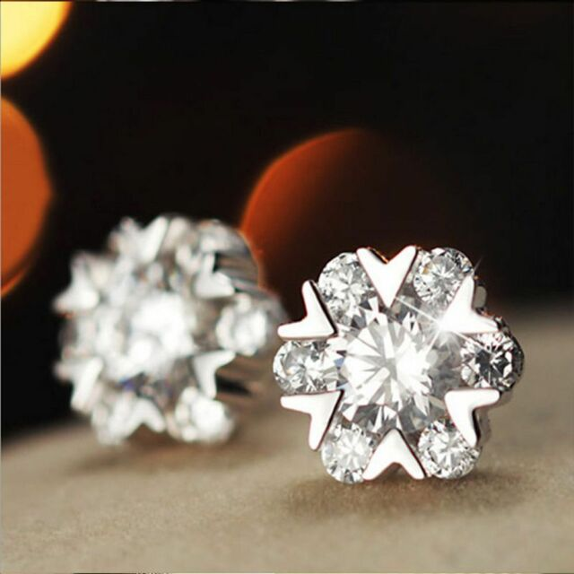 Christmas Gift Rhinestone Charming Flower Snow Dance Earrings Ear Stud Jewelry