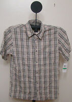 Via Europa Multi Color Limestone Checked Slim Fit Short Sleeve Shirt Size Large