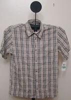 Via Europa Multi Color Limestone Checked Slim Fit Short Sleeve Shirt Size Large