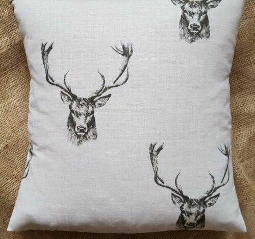 "Fryett/'s /'Stag/' Print Cotton Fabric Cushion Cover 16/""x16/"""