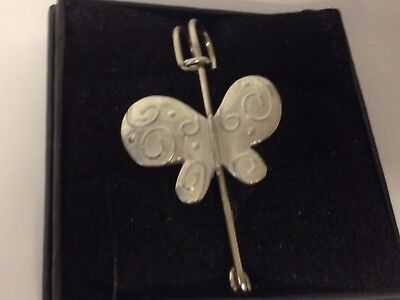 """Butterfly Gt143 Pewter Scarf And Kilt Pin Pewter 3"""" 7.5 Cm Pins & Brooches"""