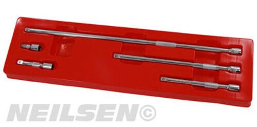 """5 Pieza 3//8/"""" Conducir Extra Larga Extensión Set Bar de potencia 38 75 150 250 450 mm"""