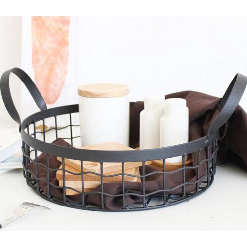Metal Wire Basket Storage Round Vintage Mesh Hamper Organizer Container