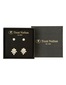 NEW Trent Nathan Stud & Flower Crystal Earring Set Gold