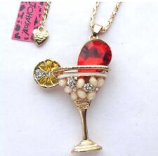 Cute NWT Betsey Johnson Necklace Gold Red Lemon Martini Glass