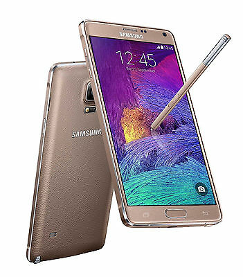 Unlocked Gold 5.7 inch Samsung Galaxy Note 4 4G Android Smartphone 32GB 3G RAM ^