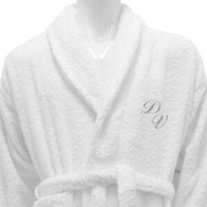 Hotel Spa Edition Bath Robe Shawl Collar White Monogram Personalized ... 549a2f636