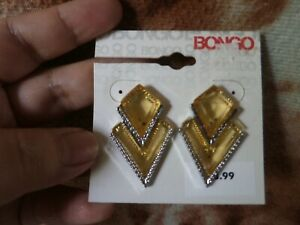 CLOSEOUT-SALE-Imported-From-USA-8-99-Bongo-Yellow-amp-Silver-Earrings-1