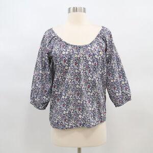 J-CREW-Liberty-Peasant-Top-Blouse-Shirt-June-039-s-Meadow-Floral-Blue-Womens-XS