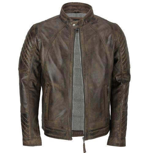 NUOVA linea uomo morbida vera Pelle Giacca Biker Smart Slim Fit Vintage in antiqued BROWN