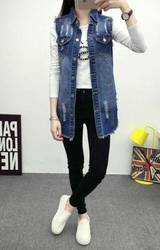 Women Sleeveless Casual Blue Denim Vest Jean Jacket Waistcoat Tunic Long Coat