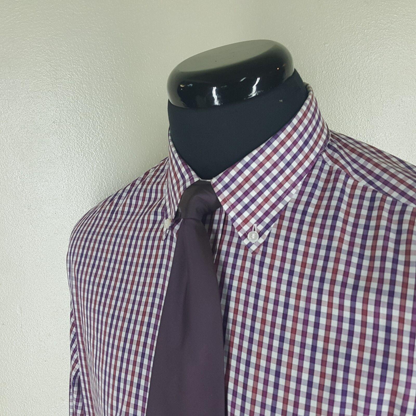 LORO PIANA Button Down Collar  100% Cotton Shirt Made In  17 1/2-Fit 16 3/4