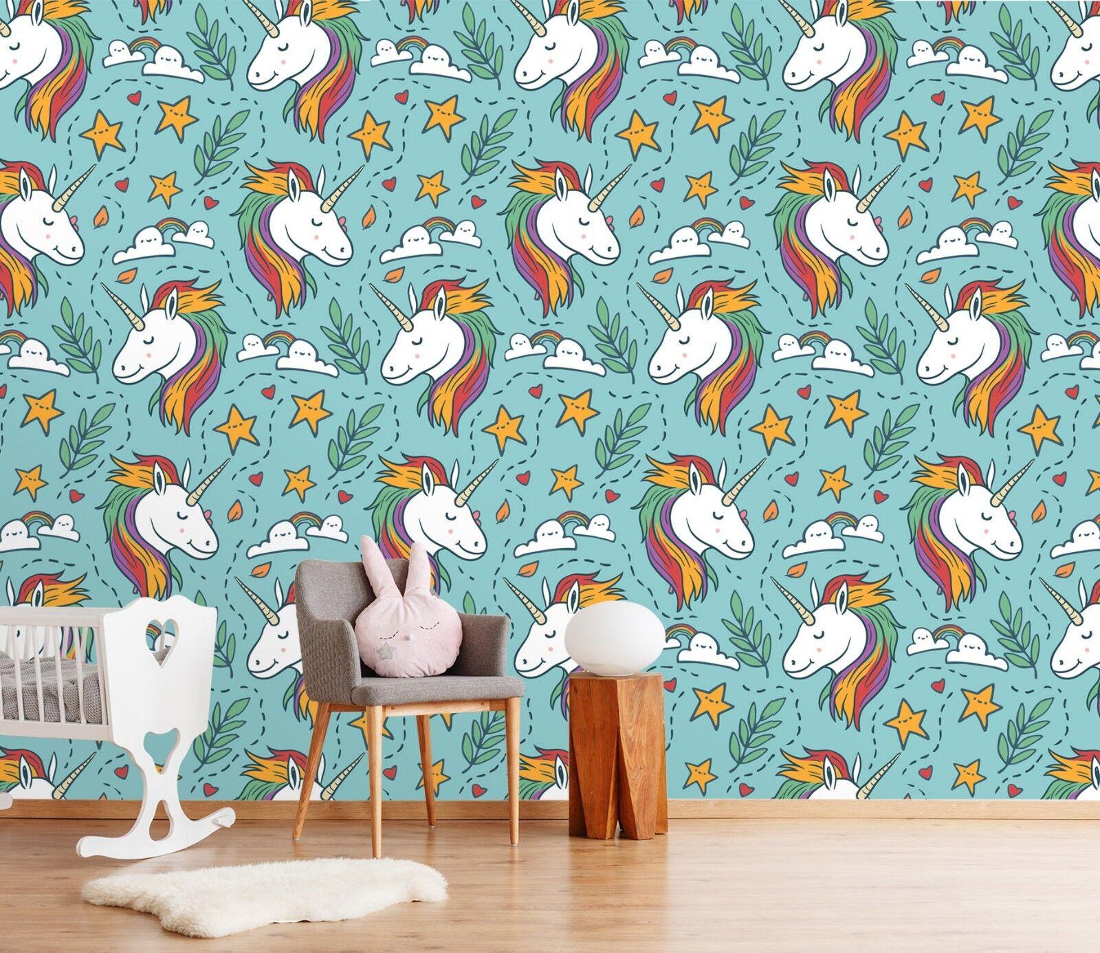 3D Einhorn Regenbogen 3 Tapete Wandgemälde Tapete Tapeten Familie Kinde DE Lemon