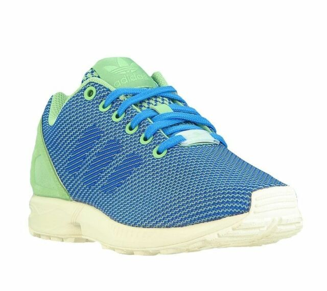8b976415ce86 adidas ZX Flux Weave Unisex Blue Green Casual Trainers Sports Shoes ...