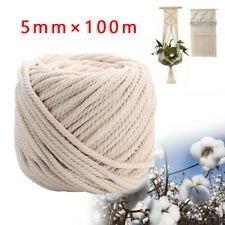 2x 5mm Macrame Rope Natural Beige Cotton Twisted Cord Artisan Hand Craft 65RW