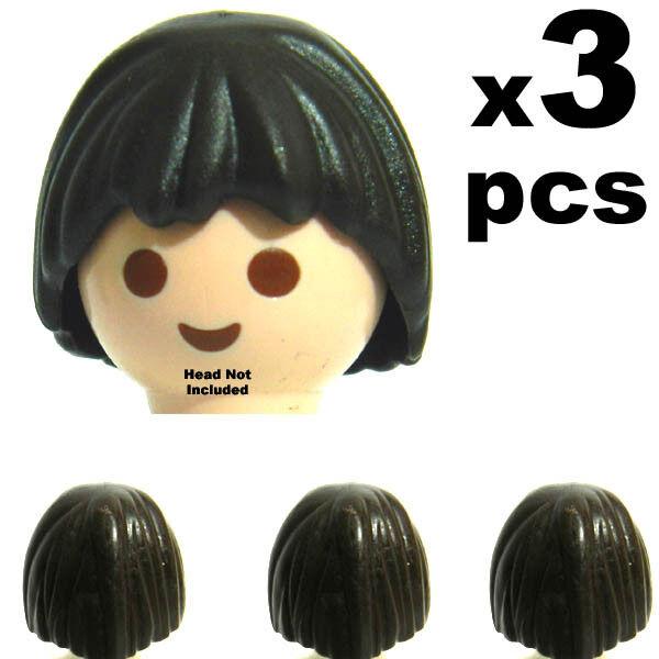 3 Pc  Playmobil Light Brown Long Hair Hair