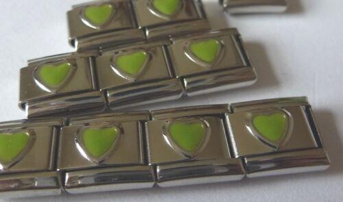 Corazón Verde encanto italiano-agosto Piedra Love 9mm se adapta Classic pulseras