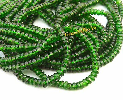 SKU#154698 Chrome Diopside Faceted Rondelle Shape Beads Natural Chrome Diopside Beads 4.5-6.5mm Total 3 Strands of 16 Inches In The Lot