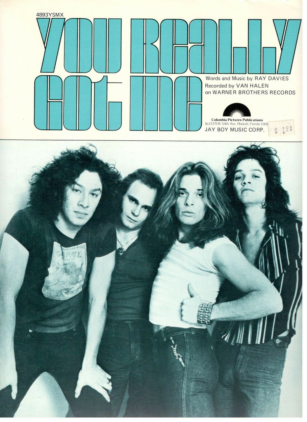 VAN HALEN  YOU REALLY GOT ME  SHEET MUSIC-EXTREMELY RARE-BRAND NEW ON SALE-P V C
