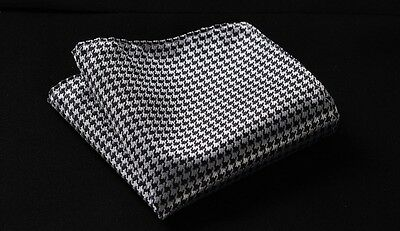 MC27 Black Houndstooth Men Silk Satin Handkerchief Pocket Square Hanky