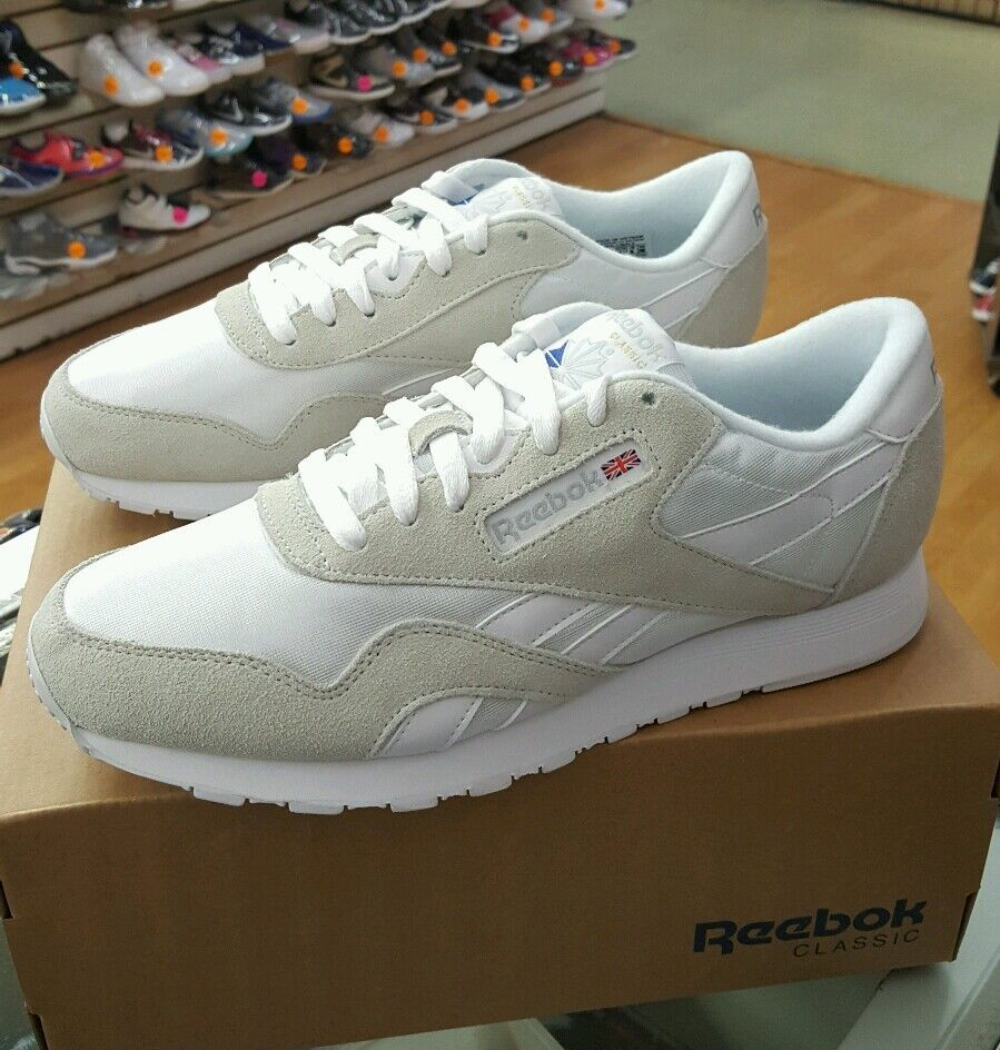 REEBOK CLASSIC NYLON 6390 WHITE LIGHT GREY MEN US SZ 11