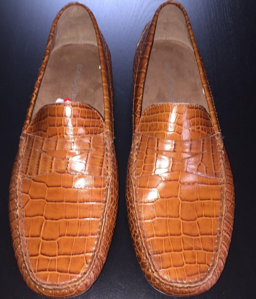 Donald J Pliner Loafers Mens 12 Brown Leather Faux Skakeskin