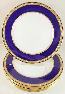6 DINNER PLATES ANTIQUE COPELAND CHINA 4040 COBALT RAISED GOLD ENCRUSTED JEWELED
