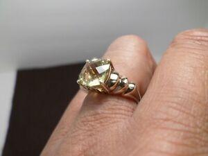 Clyde Dunier Green Prasiolite Cushion Checkerboard Vermeil Sterling Silver Ring
