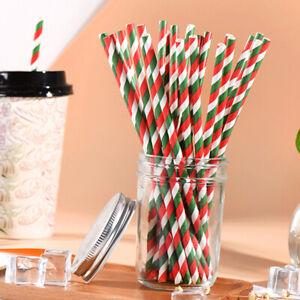25Pcs Disposable Drinking Straw Xmas Christmas Paper Tools Straws Party Bir T6J9
