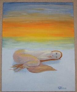 FOLK ART SLEEPY MERMAID REDHEAD ORANGE SKIES OCEAN SUNSET PRIMITIVE OIL PAINTING