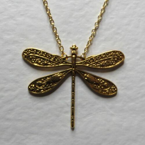 "21/"" Precioso Gran Estilo Art Nouveau Brillante Oro Plateado Libélula Colgante 18/"""