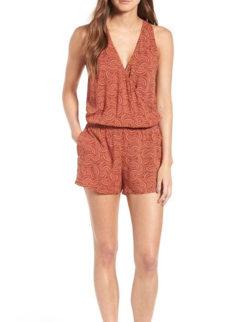 b11fc4923967 Hinge Nordstrom Burnt Orange Rust Henna Casual Romper Size Medium M ferns   79