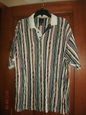 Vintage Cotton Trader Sport Polo Shirt Men's size XL Vertical Coogi like stripes