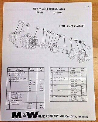 M/&W Gear Co 9 Speed Transmission IH Farmall H M Super M MTA Parts List Manual