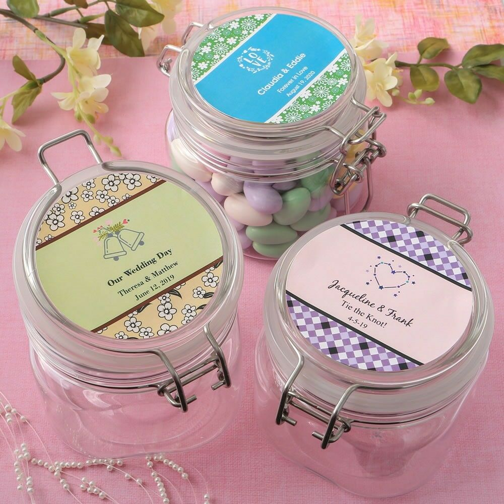 25 Personalized 16oz Treat Box Jars Wedding Bridal Baby Shower Party Favors