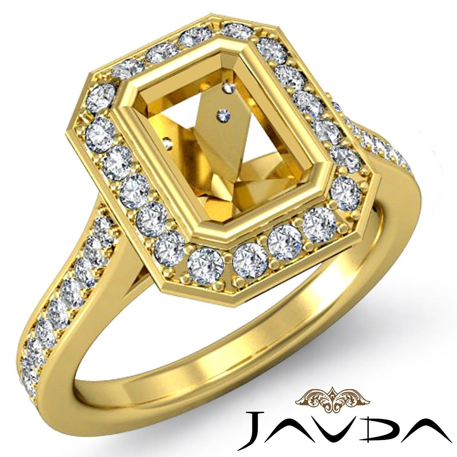 0.5Ct Diamond Engagement Ring Emerald Semi Mount Halo Setting 18k Yellow gold
