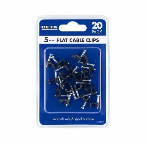 DETA 5mm Black Flat Cable Clips - 20pk