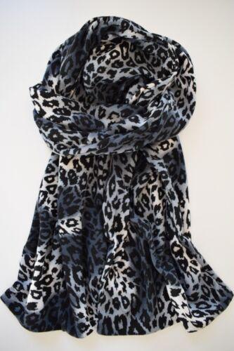 kuscheliger Jerseystrick Grau 2 Lagen Weiß Weicher Leopard Schal Schwarz