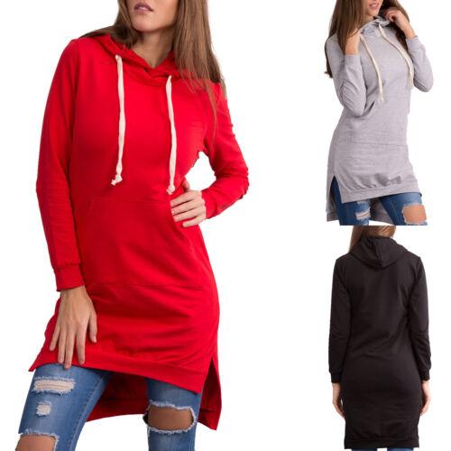 Women Hooded Long Jumper Dress Sweatshirt Ladies Long sleeve  Knee Length