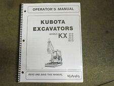 Kubota KX41 -2 KX61 KX91 -2 KX121 KX161 -2 excavator owners & maintenance manual