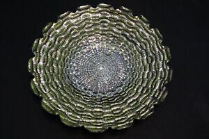 Murano-Italian-Art-Glass-Plate-or-Bowl-Large-Size-Greenish-Inner-Log-Design